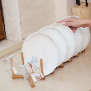 Bamboo Dish Rack, Plate Holder, Drying Strainer (6.3 x 4.6 x 4.5 in) - HY1702