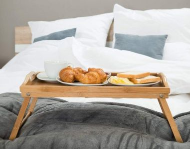 Bamboo Food Serving Table With Folding Legs