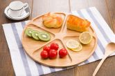 Bamboo Round Snack Serving Platter, 5-Sectional Large Plates - HY1914