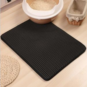 hole cat litter mat - black