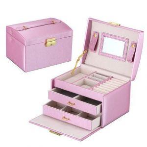 Leather three-layer jewelry storage box 17,5*14*13cm - light pink