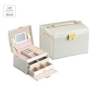 Leather three-layer jewelry storage box 17,5*14*13cm - white