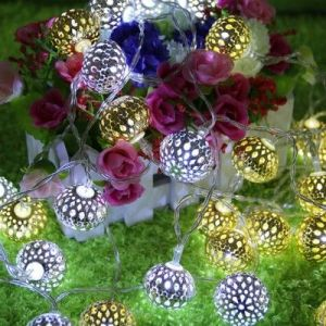 LED Metal hollow balls holiday decorations light- gold ball