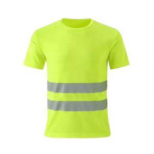Reflective clothing collarless T-shirt - Fluorescent green (no neckline)