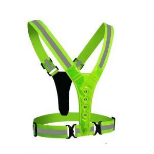 reflective vest 8 LED light 4cm Loose straps - fluorescent green
