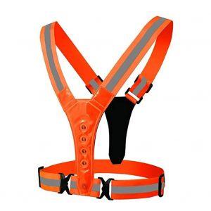 Reflective vest 8 LED light 4cm Loose straps - Orange