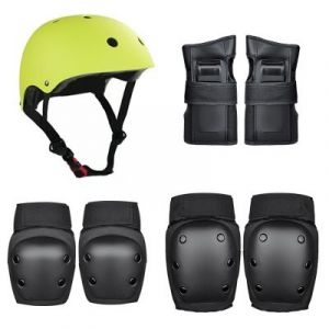 Roller Skating Protector / Children's Helmet Set (36-58kg) 7pcs/set - Black-Green size:M