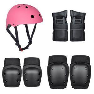 Roller Skating Protector / Children's Helmet Set (36-58kg) 7pcs/set - Black-Pink size:M
