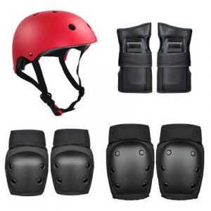 Roller Skating Protector / Children's Helmet Set (36-58kg) 7pcs/set - Black-red size:M