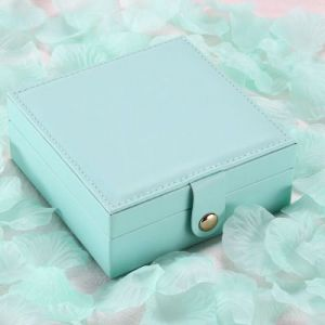 Single-layer jewelry storage box 12*12*5cm - turquoise