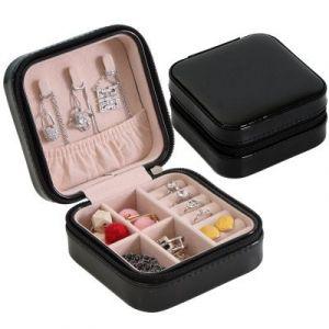 Single-layer simple jewelry box, earrings 10*10*5cm - black