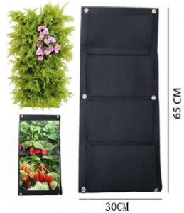 Wall-mounted 4 port planting bag - black size:S